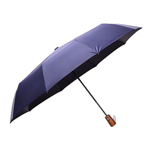 Mango de madera de estilo clásico Auto abrir y cerrar paraguas de...
