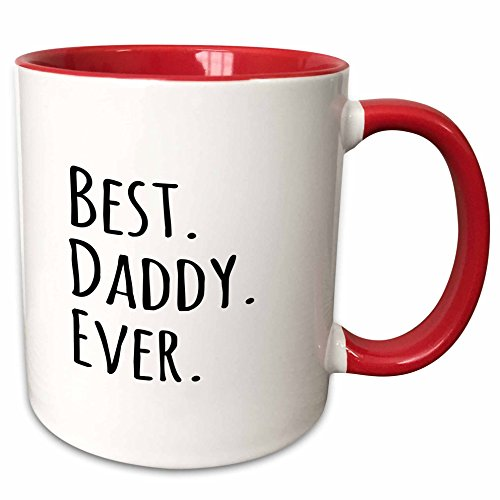 3dRose Best Daddy Ever-Gifts Fathers Day Text Mug, 11oz, Black/Red
