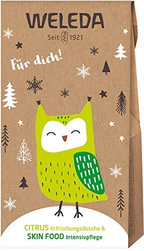 WELEDA Nikolaus und Wichtel Set Citrus/Skin Food 2020 - Naturkosmetik Geschenkset bestehend aus Citrus Erfrischungs-Dusche (20 ml) & Skin Food (10 ml) in einem ansprechenden Geschenktütchen