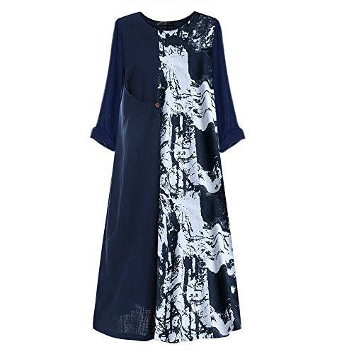 GWJGOGO Vrouwen 3/4 Mouw Boho Bloemen Jurk, Casual Maxi Jurk Mode Dames Losse Strand Jurk Sundress
