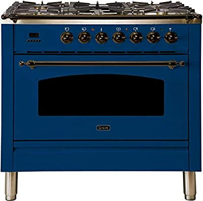 Ilve UPN90FDMPBLY Nostalgie Series 36 Inch Dual Fuel Convection Freestanding Range, 5 Sealed Brass Burners, 3.55 cu.ft. Total Oven Capacity in Blue, Bronze Trim (Natural Gas)