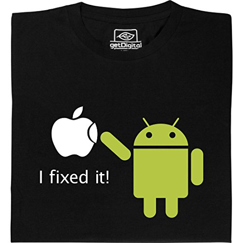 Android Fixed it - Geek Shirt für Computerfreaks aus fair gehandelter Bio-Baumwolle, Größe L