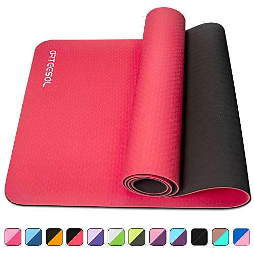 arteesol Yoga Mat, Non-Slip 6mm Thick Large Fitness Mat, Anti-Tear Eco Friendly Exercise Mat with Carry Straps, Premium for Pilates, Fitness, Women and Men 183 cm x 61 cm x 6 mm (Red+Black)