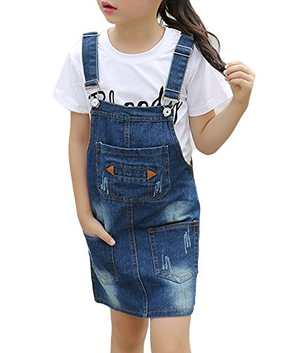 GladiolusA Mädchen Jeanskleid Latzkleid Jeans Rock Trägerrock Latzrock Knielang A-Linie Denim Abendkleid 130