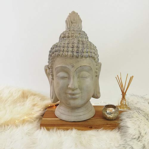 Koopman Großer Buddhakopf Antik-Optik 31x29xH53cm Magnesia Beige-Grau Buddhismus Buddhafigur Gartenfigur Gartenskulptur