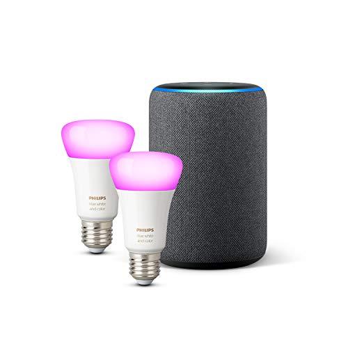 Amazon Echo (3ª gen.), Tessuto antracite + Lampadine intelligenti a LED Philips Hue White & Color Ambiance, confezione da 2 lampadine, compatibili con Bluetooth e Zigbee (non è necessario un hub)