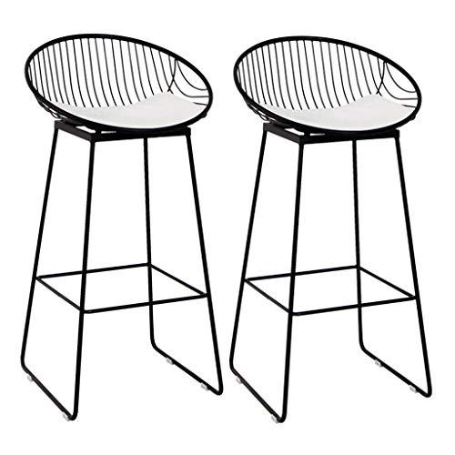 Modernos taburetes de Bar Juego de 2, Sillas de Comedor como Taburete para el Pub de la Cocina Taburete de Desayuno, Asiento de Cuero Falso Blanco, Patas de Metal Negro, Altura del Asiento 71cm