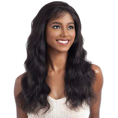 NAKED UNPROCESSED REMY HUMAN HAIR INVISLBLE L-PART LACE FRONT WIG - NATURAL WAVY