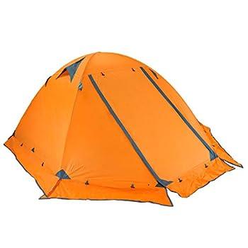TRIWONDER Tente de Camping 3 Personnes Ultra Légère Tente Trekking 3 Places Tente Dôme 4 Saisons Imperméable pour Voyage Randonnée Plage Pique-Nique (Orange - avec Bord du Jupe - 3 Personnes)