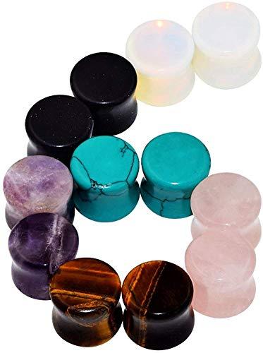 Longbeauty 12er Set/6-Farbe Stein Flesh Tunnel Plugs Set 10mm