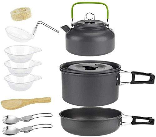YSCYLY Batterie De Cuisine Kit,11 pièces pour 2 à 3 Personnes avec Vaisselle de théière,Ensemble De Cuisine en Plein Air Casseroles Et RéCipients De Camping