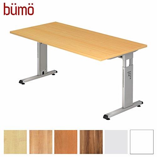bümö® Stabiler Schreibtisch höhenverstellbar 160 x 80 cm | Bürotisch in Buche | Büroschreibtisch mit Höheneinstellung | Tisch für Büro in 9 Größen & 7 Dekoren