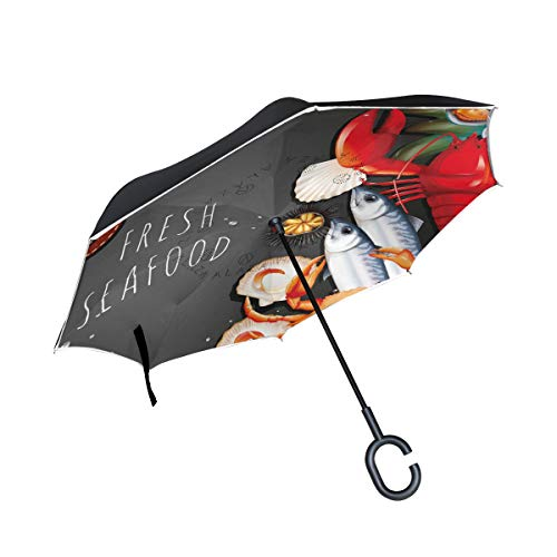 Lowest Prices! PNGLLD Seafood Shrimp Crab Inverted Umbrella Double Layer Reverse Folding Umbrella wi...