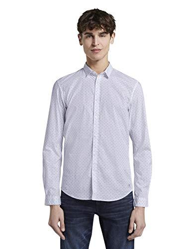 TOM TAILOR Denim Herren AOP Hemd mit Button-Down-Kragen, Weiß 21622, L