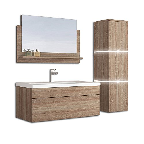 Home Deluxe - Badmöbel-Set - Wangerooge Big Holz - L - inkl. Waschbecken und komplettem Zubehör - Breite Waschbecken: ca. 80 cm