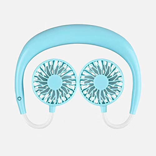 Qualimart Fan Appeso per Collo Portatile USB Raffreddamento A Testa Double Head Ricaricabile per Lo Sport E La Lettura for Drying Room (Color : Black)