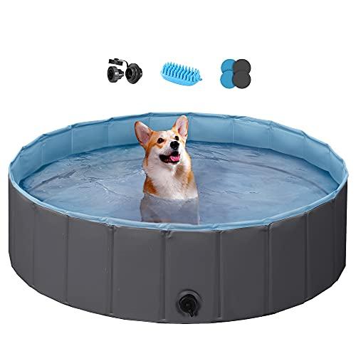 Black Foldable Hard Plastic Dog Pet Bath Swimming Pool Now $9.97