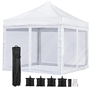 YAHEETECH 10 x10  Pop Up Canopy with Mesh Netting Wall Camping Screen Houses Rooms Commercial Instant Shelter Commercial Tents Market Stall Instant Canopy Tent for Camping Family Outings Wedding