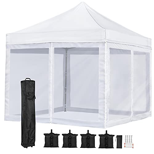 YAHEETECH 10'x10' Pop Up Canopy Screen Party Tent with Mesh Side Walls, Commercial Instant Shelter Commercial Tents Market Stall, Instant Canopy Tent for Camping, Family Outings, Wedding