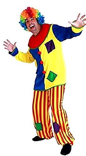 KIRALOVE Disfraz de Payaso - Circo - Disfraces - Halloween - Carnaval - Color Multicolor - Adultos - Hombre - niño - Talla única - Idea de Regalo Original