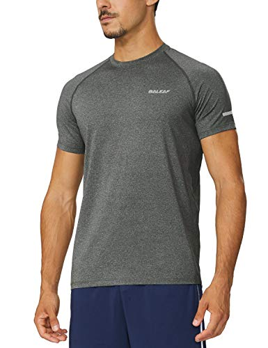 BALEAF Men's Quick Dry Short Sleeve T-Shirt Running Workout Shirts Grey Heather Size M