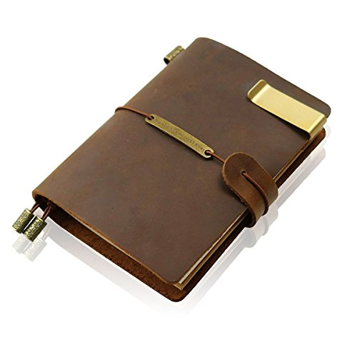 Nachfüllbares handgefertigtes Reise-Notizbuch, Leder-Reisetagebuch, Vintage-Notizbuch für Männer und Frauen, perfekt zum Schreiben, Geschenke, Reisende, kleine Größe 13,5 x 10,2 cm, Braun