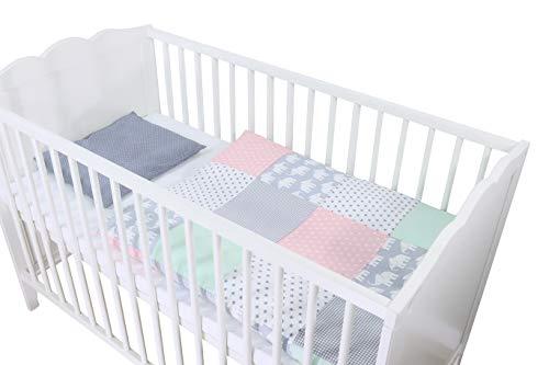 Conjunto de ropa de cuna de ULLENBOOM  con elefantes menta rosa (juego de 2 piezas para cuna: funda de almohada de 35x40 cm y funda nórdica de 80x80 cm)