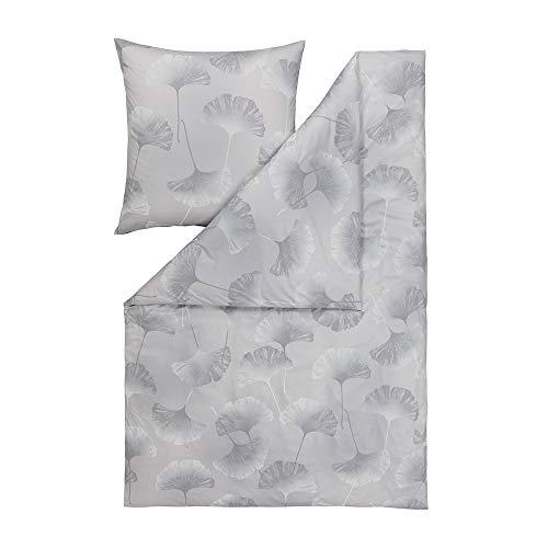 ESTELLA Bettwäsche Isabella | Platin | 155x220 + 80x80 cm | Pflegeleichte Interlock Jersey Qualität | trocknerfest und bügelfrei | ideale Vier Jahreszeiten Bettwäsche | 100% Baumwolle