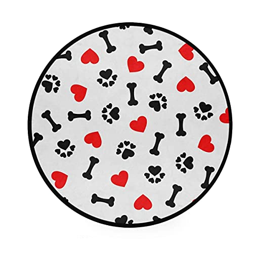 Alfombra de área Lindo estampado de pata de hueso de perro Alfombras redondas de corazón rojo Antideslizante Alfombra circular suave Alfombras para dormitorio Habitaciones de niños Sala de estar Sala