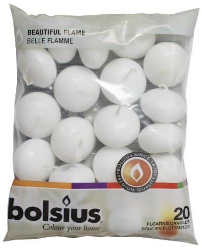 bolsius 103632053702 Schwimmkerzen Wachs weiß, 4,5cm w X 3cm h