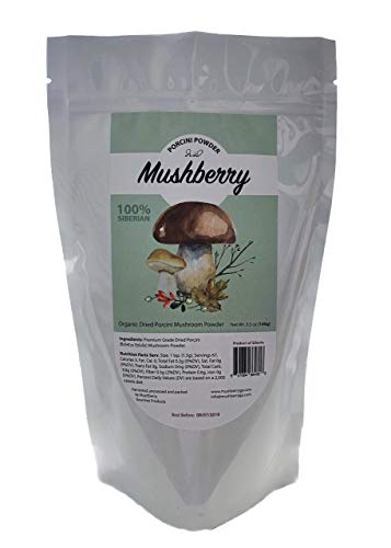 Mushberry Siberian Dried Porcini Mushroom Powder 3.5 oz 100 g   Truly Wild and Natural   Great Source of Umami   Porcini Rub 2019 Harvest   All-natural
