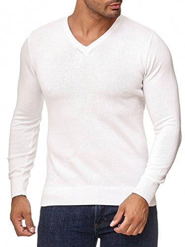 BARBONS Herren Pullover mit V-Ausschnitt - Slim-Fit - Hochwertige Baumwollmischung - Feinstrick-Pullover - Weiß XL