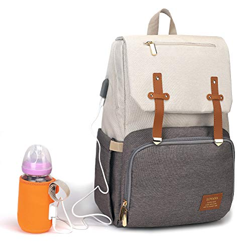 Diaper Bag Backpack, Maternity Nappy Bag, Multifunction Travel Back Pack, Newborn Baby Changing Bags with Bottle Warmer, USB Charging Port, Waterproof and Large Capacity for Boys & Girls (Gray&White)