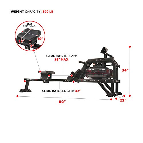 Sunny Health & Fitness Obsidian Surge 500 Water Rowing Machine - SF-RW5713
