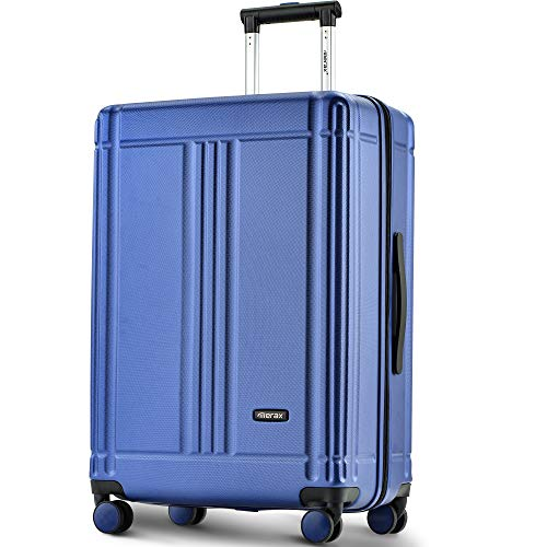 Baywell Lightweight 24 inch Hard Shell 4 Wheel Travel Carry On Hand Cabin Luggage Suitcase 4 Wheels Suitcases with TSA Lock Luggage (Blue)