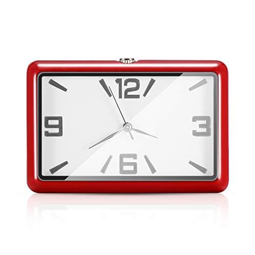 OurLeeme Auto Uhr, hohe Genauigkeit kleine Auto Uhr Uhr Auto Ornamente Quarzuhr für Auto nach Hause (Rot)