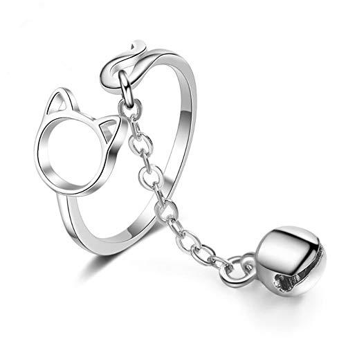 RVXZV Exquisite süße Katzenglocke Öffnung verstellbare Ringe für Frauen 925 Sterling Silber Schmuck Geschenk SAR99
