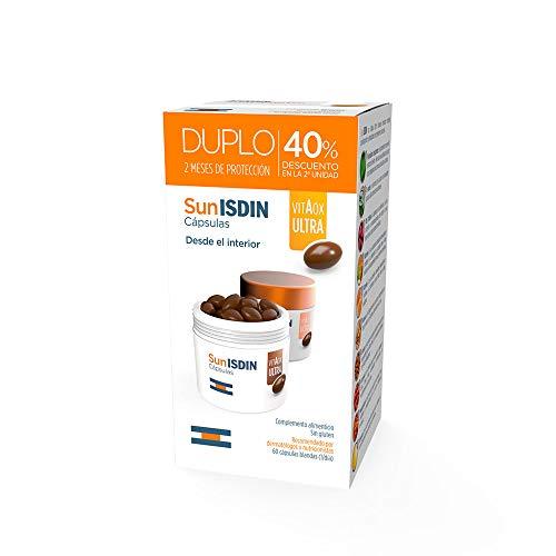 SunISDIN Cápsulas Orales, DUPLO 60 Unidades, Vitamina D, Complemento Alimenticio que Contribuye a Preparar la Piel para la Exposición Solar (690014539)