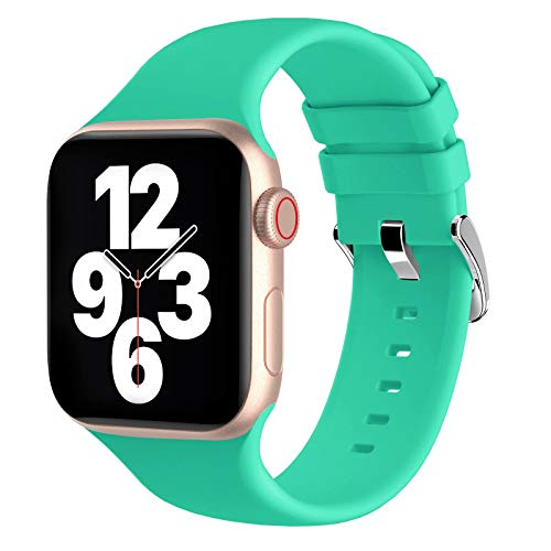 Fengyiyuda Correas Compatible con Apple Watch Correa 38mm 42mm 40mm 44mm, Correa Loop Deportiva con Silicona Suave de Repuesto Compatible con iWatch Series 6, 5 4 3 2 1, SE
