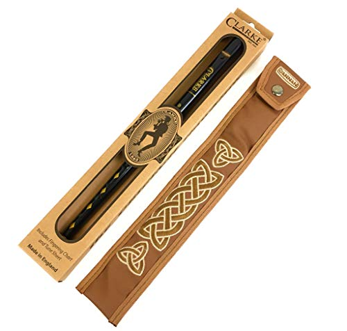 Original Black Clarkes Tin Whistle in key of D with Handmade Irish Whistle Case by Dannan in Brown Vegan Leather with Celtic Embroidery