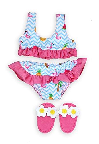 Heless 299 - Schwimmset für Puppen, 3 teilig, Bikini mit Badeschläppchen, Flamingo, Größe 35 - 45 cm, für Badespaß an heißen Sommertagen