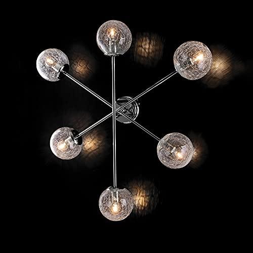 Ceiling light modern design chrome with crackle blown glass balls 6 lights bon-182