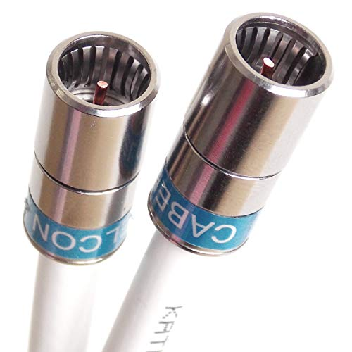 1 m F-Quick-Kabelmodem- u. SAT-Receiver-Anschlusskabel Jumper-Kabel mit Kathrein LCD 111 A+, 3-Fach geschirmt, PVC weiß und Cabelcon F-SC-56 CX3 5.1