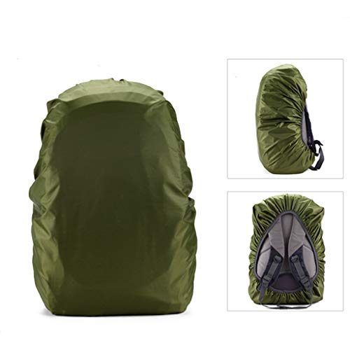 Flurries 35-80L Waterproof Backpack Rain Cover Protecter - Case with Adjustable Fixed Drawstring Avoid to Falling Anti-Slip - Strengthened Layer Portable Hiking Camping Cycling (Green, 45L)
