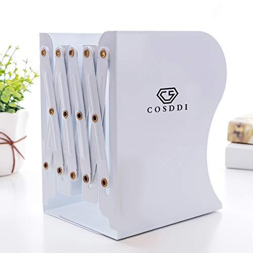 CS COSDDI Faltbar Bücher Ordner Dokumente Buchständer Einziehbarer Desktop Buchstützen Buchstütze Metall - Weiß