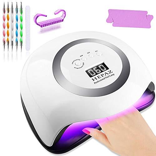 168W LED UV Lampe Nageltrockner für Gel Nagellack,HEPAZ Auto-Sensor Aushärtelampe mit 4 Timer Einstellungen,Nagelwerkzeuge für Fingernagel und Zehennagel