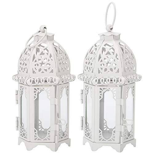 Cikonielf 2 Stück Kerzenhalter, weiße Vintage Schloss Kerzenhalter Kerzenhalter Laterne dekorativ, romantische Kerzenhalter Retro Eisen Hochzeitsdekoration