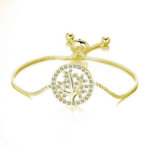 Philip Jones Gold Tree of Life Bracelet Created with Austrian Crystals