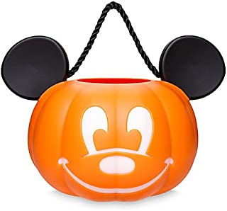 Disney Park Mickey Mouse Pumpkin Light Up Halloween Trick or Treat Candy Bucket Bag Pail Jack O'Lantern NEW