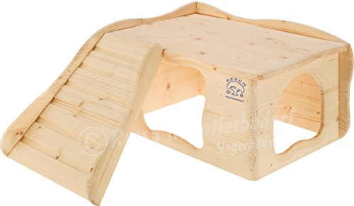 Resch Nr22 Wohlfühlhaus Großglockner naturbelassenes Massivholz aus Fichte/mit Treppe zur Liegeterasse, großen Eingängen und gerundeten Ecken